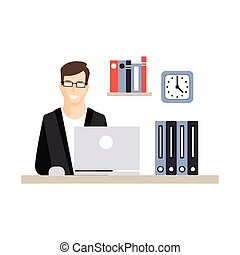 Young businessman character working with laptop at his office workplace, daily life of office employee vector Illustration