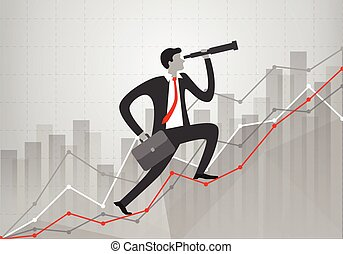 young businessman with telescope in his hand looks to the future and goes up growth business statistics charts showing different visualization graphs