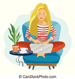Young female blogger. Freelancer woman using laptop computer sitting on the armchair.