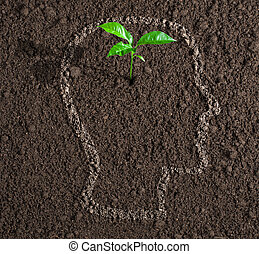 young growth of idea inside of human head contour on soil concept