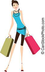 Young beautiful lady shopping