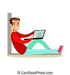 Young man sitting on the floor with his laptop, colorful character vector Illustration