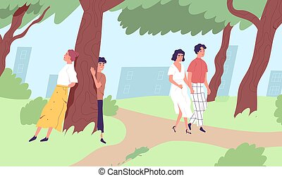 Young people walking and relaxing in urban park. Male and female characters spending leisure time in nature. Enjoying outdoor activity in city. Flat vector illustration