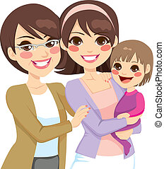 Young three generation family women happy smiling together