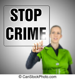 Young woman choosing Stop crime icon on virtual interface.