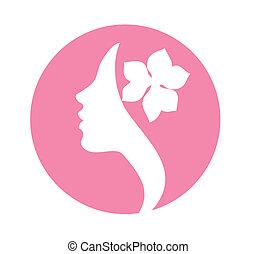 Young woman face vector icon