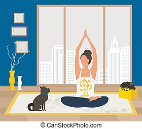 Young woman training yoga stay at home vector