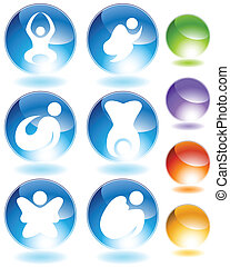 Zen Stick Figure Crystal Icon Set