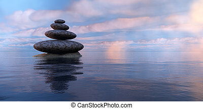 zen stones, sea and sky in 3d