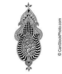 Zen-tangle floral pattern. Mehndi style