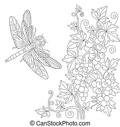 Zentangle stylized dragonfly and grape vine